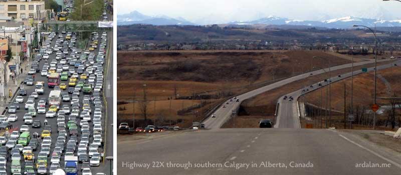 ترافیک کانادا در مقایسه با ایران